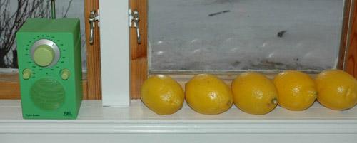 Citroner på rad i köksfönstret