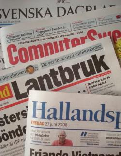 Många tidningar på fredagar; Svenska Dagbladet, Hallandsposten, Computer Sweden och Land